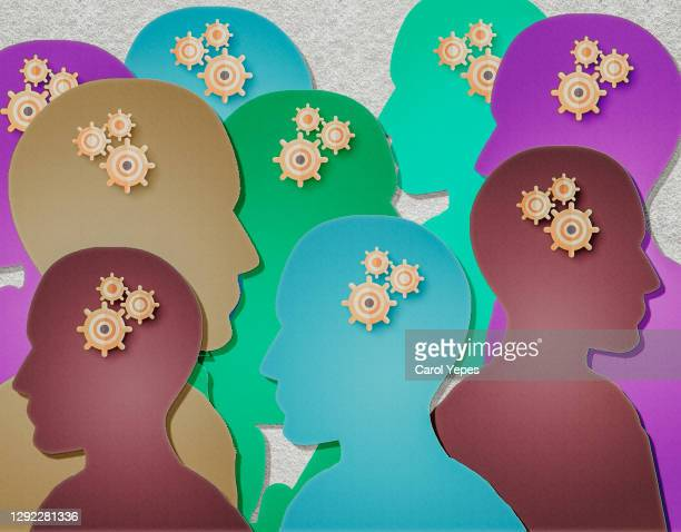 paper craft different people with mental problems - autism stock pictures, royalty-free photos & images