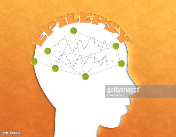 paper craft head with epilepsy text and brain vawes - epilepsy stock pictures, royalty-free photos & images