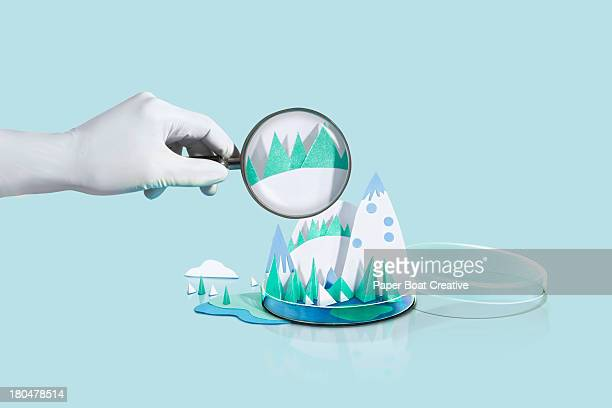Paper Craft snow mountains with magnifying glass