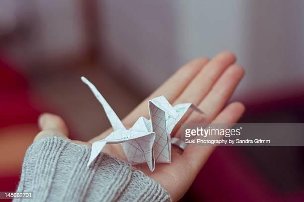 Paper crane on hand