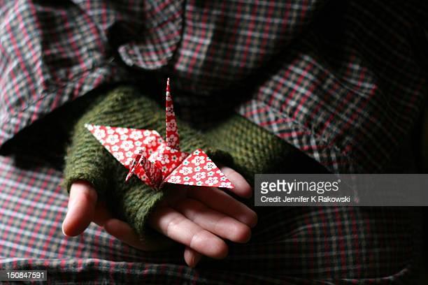 paper crane - 指なし手袋 ストックフォトと画像