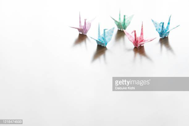 paper cranes - five objects stock pictures, royalty-free photos & images