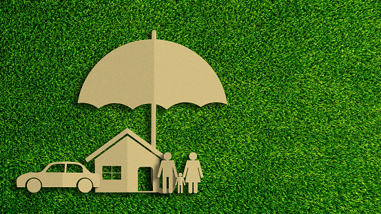 Paper cut of insurance concept on green grass background. Car insurance, life insurance, home insurance to protection by umbrella. 1178261521