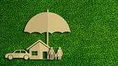 Paper cut of insurance concept on green grass background. Car insurance, life insurance, home insurance to protection by umbrella.