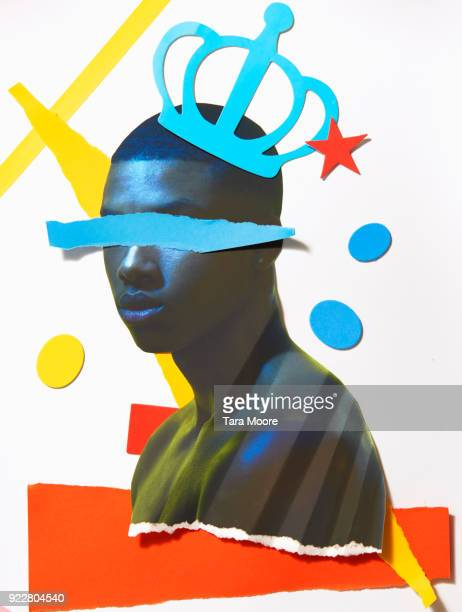 paper cut out of man with crown - art stock pictures, royalty-free photos & images
