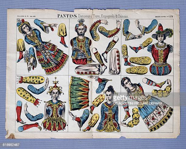 Paper cutout toys puppets in Turkish Spanish and Chinese dancers costume colour lithograph made by Pellerin Epinal France 20th century Milan Museo...
