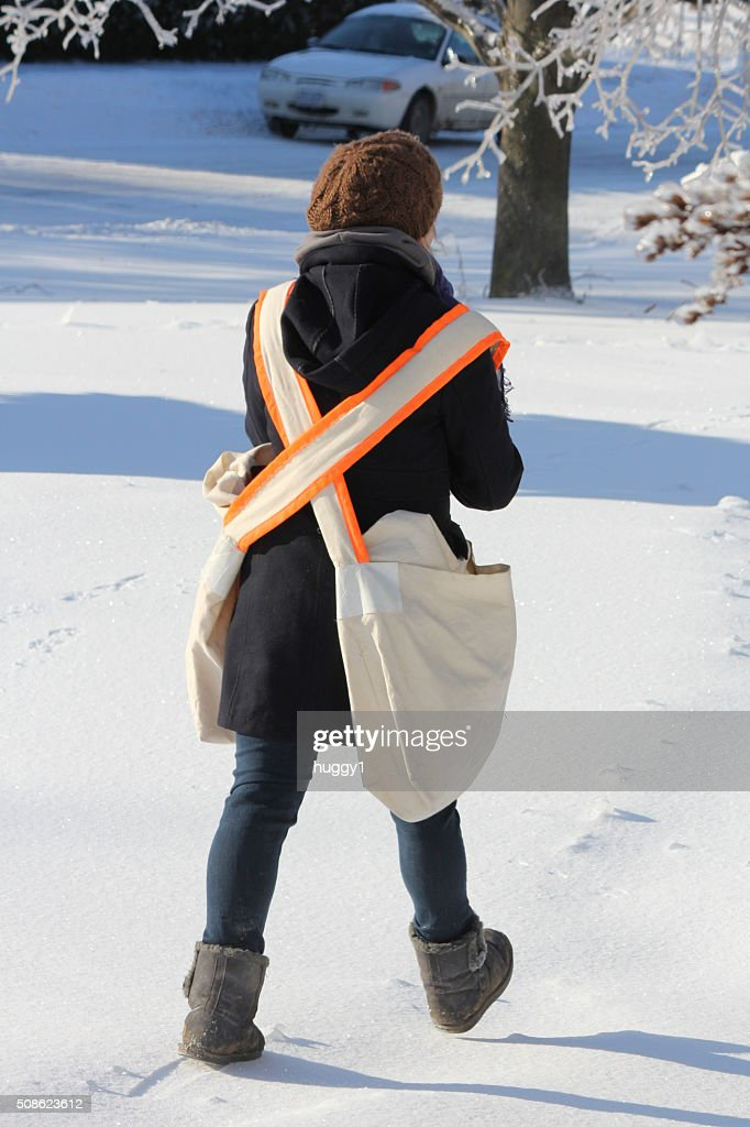 Paper Delivery Girl : Stock Photo