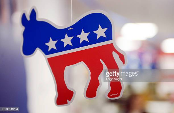 A paper donkey the animal symbol of the Democratic party hangs from the ceiling at the Virginia Victory Coordinated Campaign Field Office on October...
