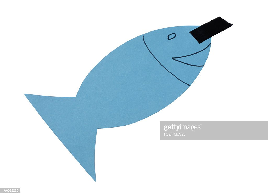 Paper Fish for a French April Fools Day Joke : Stock Photo