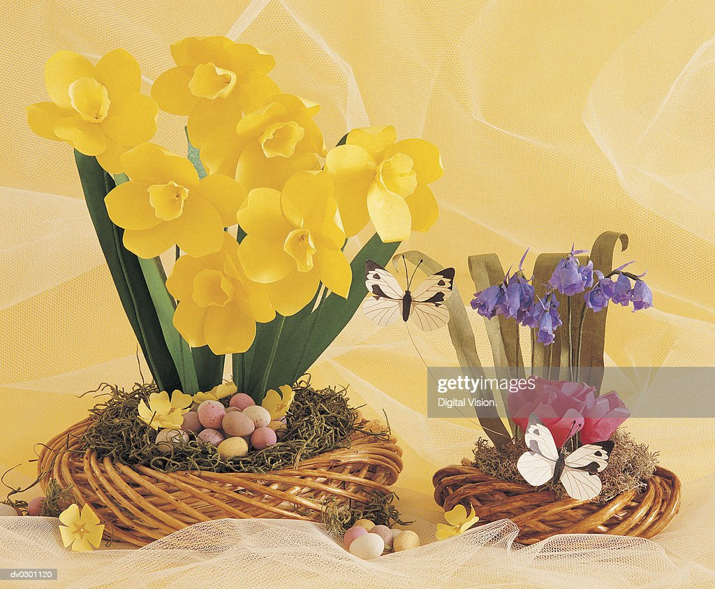 Paper Flowers With Easter Eggs Stock Photo Getty Images