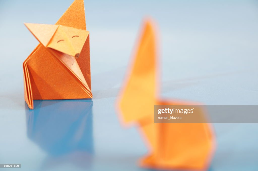 Paper Fox Origami Isolated Stock Photo Getty Images
