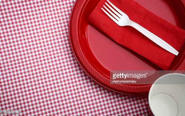 paper goods picnic - paper napkin stock photos and pictures