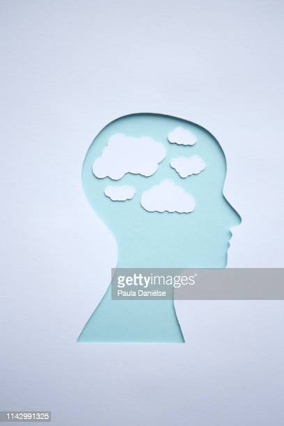 paper head - day dreaming stock pictures, royalty-free photos & images