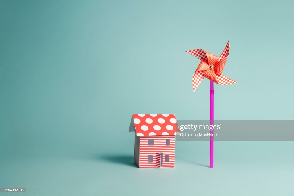 Paper Home and Paper Windmill : Stock Photo