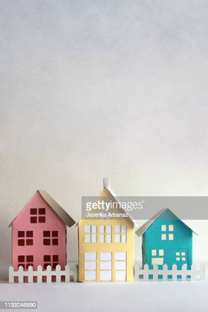paper houses - illustration stock pictures, royalty-free photos & images