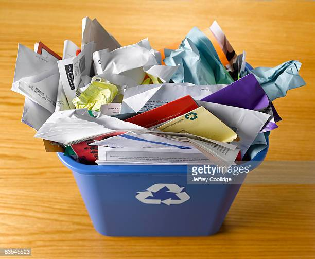 Paper in recycling basket