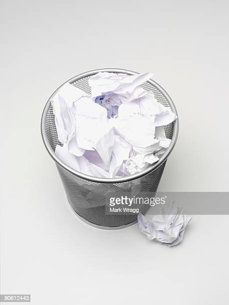 Paper in wastebasket