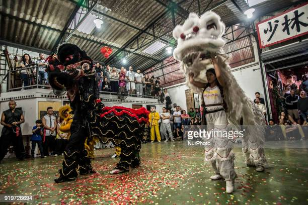 A paper incense burn ceremony and lion dances marked the arrival of Chinese New Year at Lohan Temple in the Liberdade neighborhood central Sao Paulo...
