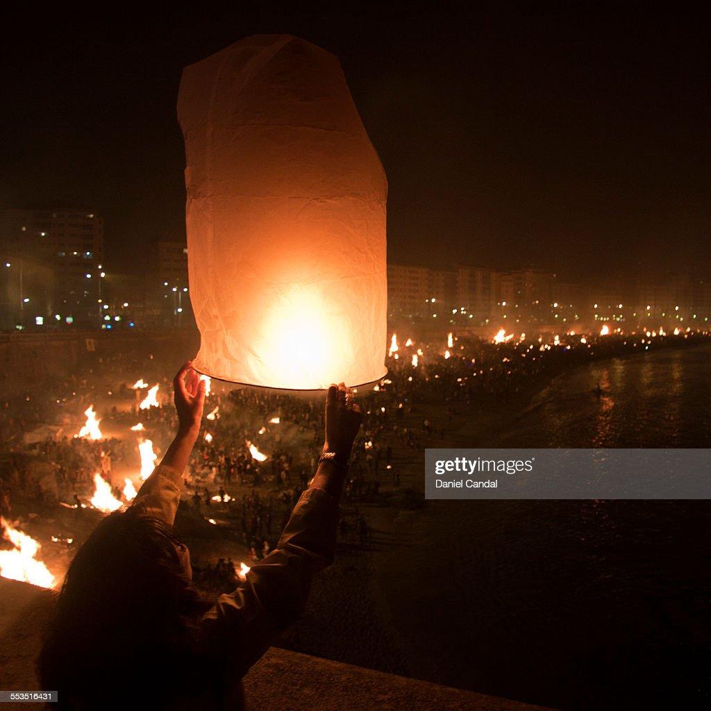 A paper lantern in St John's Eve in A Coruña : Stock Photo