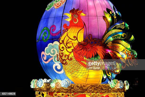 Paper lanterns are illuminated as the 'Magical Lantern Festival Opens at Chiswick House And Gardens on January 19 2017 in London England The theme...