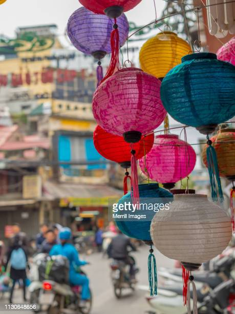 paper lanterns for sale. - old town stock pictures, royalty-free photos & images