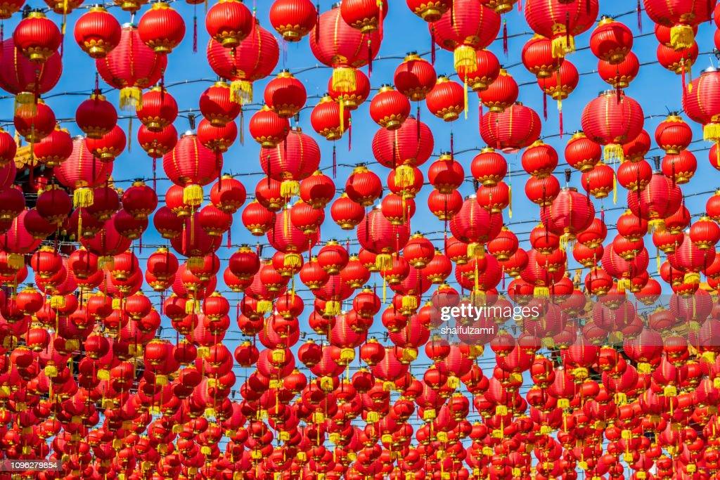 Paper lanterns hanging for Chinese New Year celebration. : Stock Photo