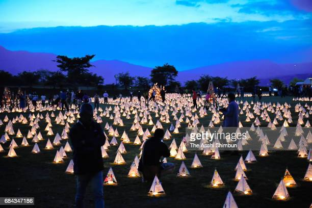 Paper lanterns with messages of support from around Japan illuminate to the victims of the April 2016 series of earthquakes that devastated Kumamoto...
