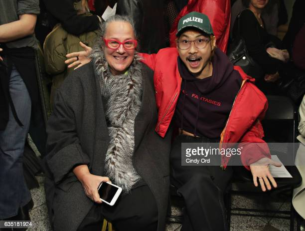 Paper Magazine editorinchief Kim Hastreiter attends the Eckhaus Latta fashion show during New York Fashion Week on February 13 2017 in New York City