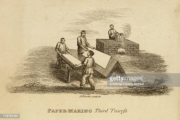 forming and drying sheets from pulp Engraving c1810