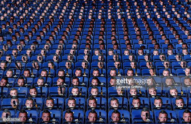 Paper masks of Leicester's Jamie Vardy are laid out for the fans prior to kickoff during the Premier League match between Leicester City and Everton...