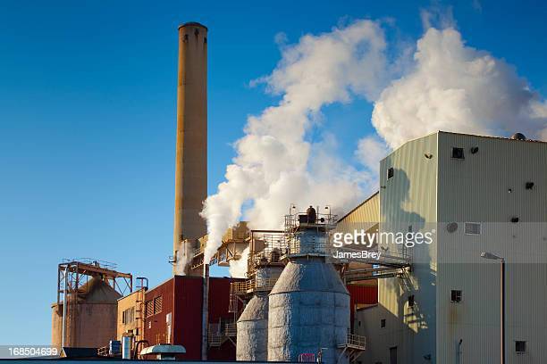 Paper Mill Emitting Polluted Steam into Clear Sky