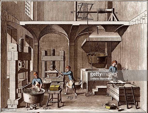 A paper mill from Encyclopedia or Dictionary of the Sciences Arts and Professions by Denis Diderot and Jean d'Alembert