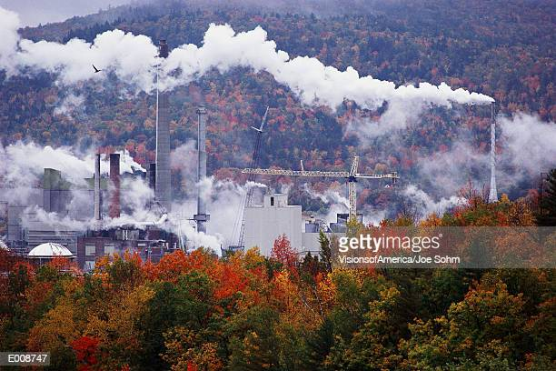 Paper mill in autumn setting