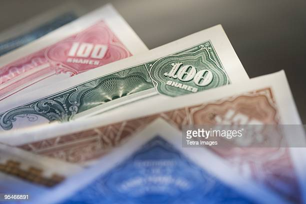 paper money - stock certificate stock pictures, royalty-free photos & images
