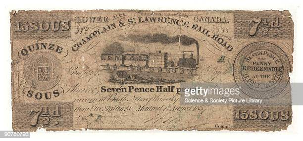 Paper Note for 15 sous or 7 1/2d issued by the Champlain St Lawrence Rail Road The note reads 'Redeemable at the City Bank' and appears to be dated 1...