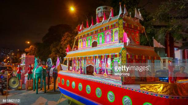 paper offerings during hungry ghost festival, kuala lumpur, malaysia - hungry ghost festivals in malaysia stock pictures, royalty-free photos & images