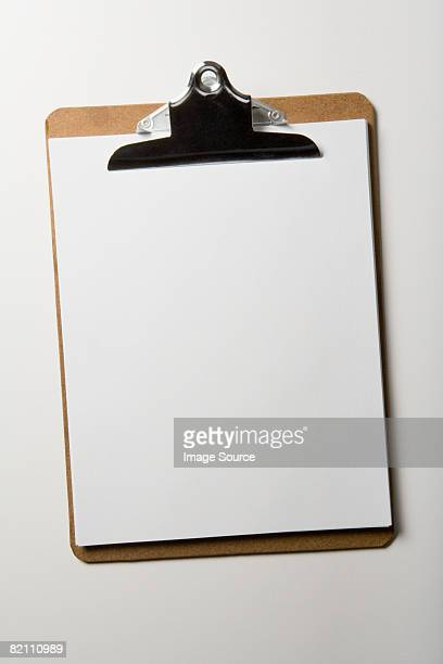 Paper on clipboard