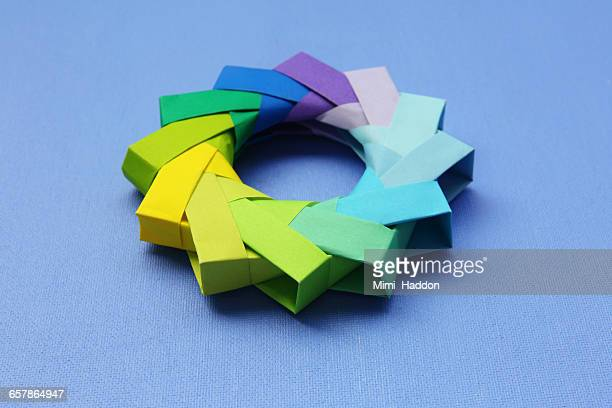Paper Origami Wheel in Cool Colors