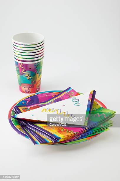 paper party cups and plates - paper plate stock photos and pictures
