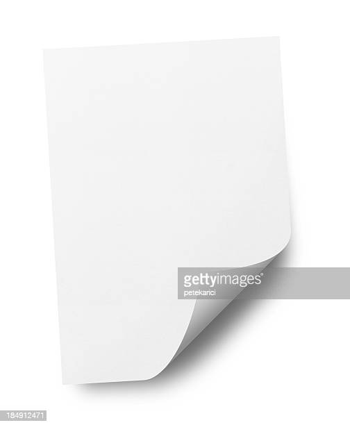 paper (isolated) - curled up stock pictures, royalty-free photos & images