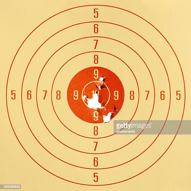 paper pistol target. - sports target stock photos and pictures