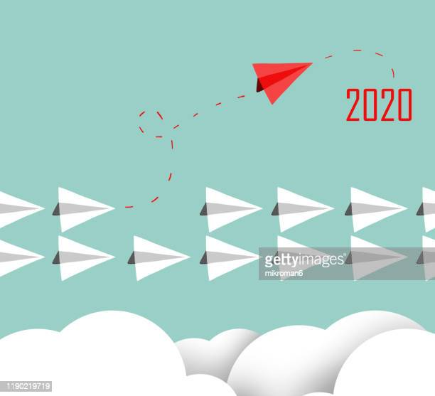 paper plane concept leading into 2020 - 2020 stock pictures, royalty-free photos & images