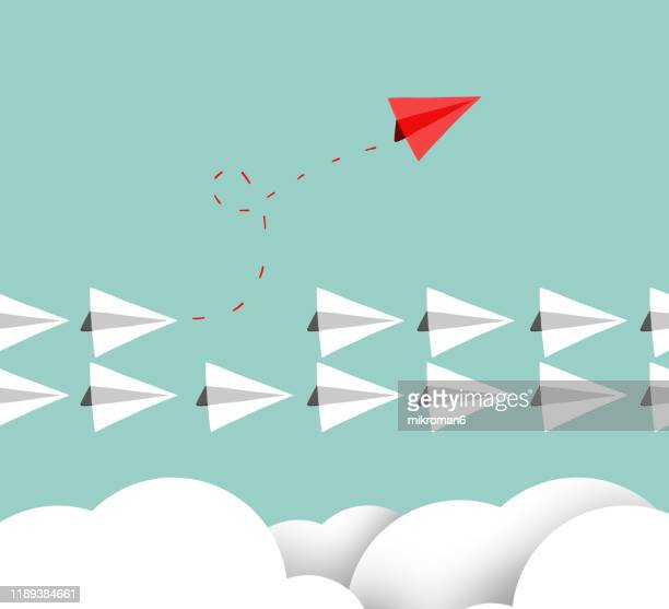 paper plane concept leading - airplane stock pictures, royalty-free photos & images