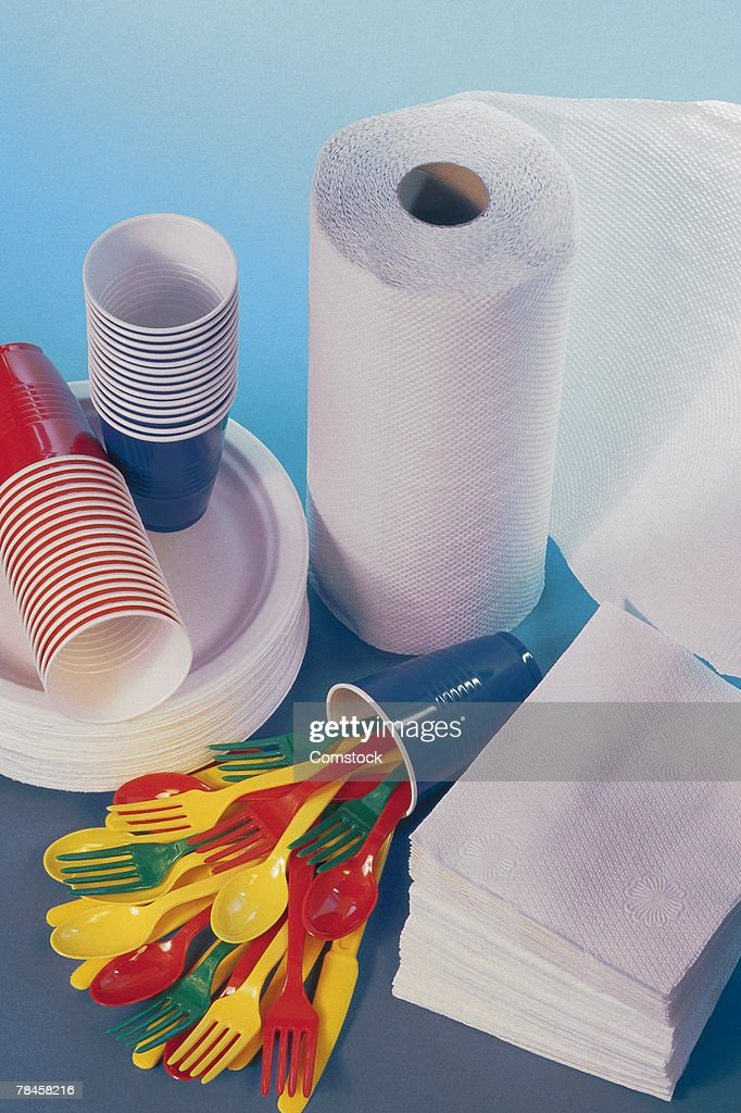 Paper plates and other picnic supplies : Stock Photo