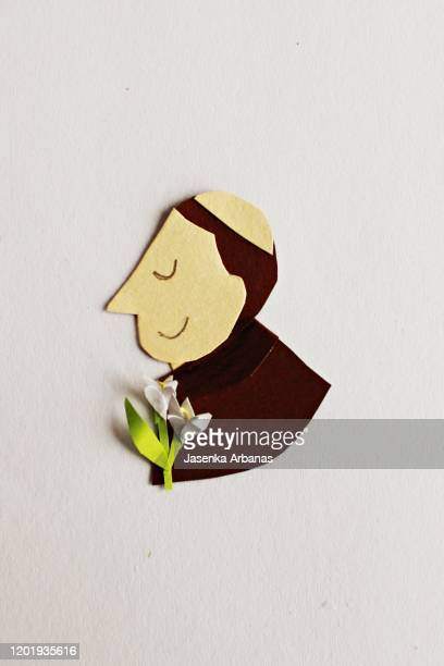 paper portrait of saint anthony of padua - caricature stock pictures, royalty-free photos & images