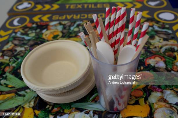 Paper products that will replace plastic are on display while New York City Mayor Bill De Blasio holds a press conference at a city recycling center...