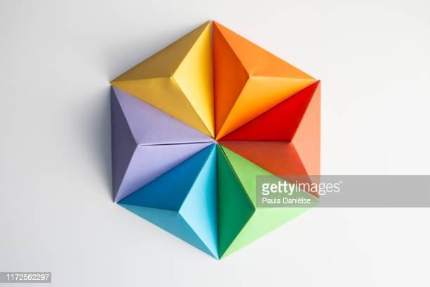 paper pyramids - origami foto e immagini stock