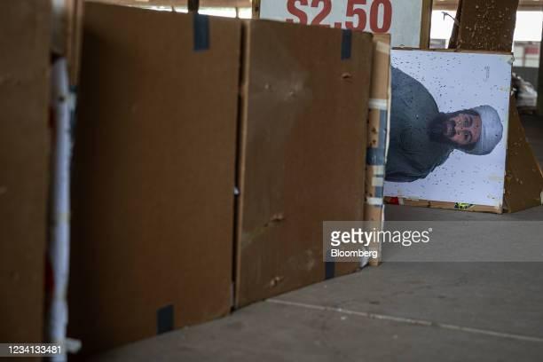 Paper range target depicting the image of Osama Bin Laden, deceased founder of militant organization Al-Qaeda, at Knob Creek Gun Range in West Point,...