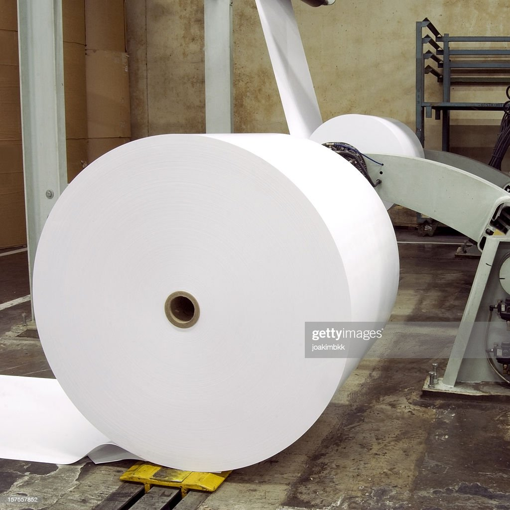 Paper rolls for print in a factory : Stock Photo