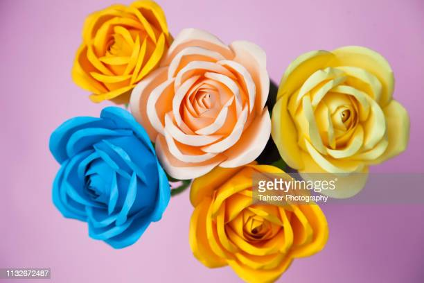 paper roses - rose colored stock pictures, royalty-free photos & images